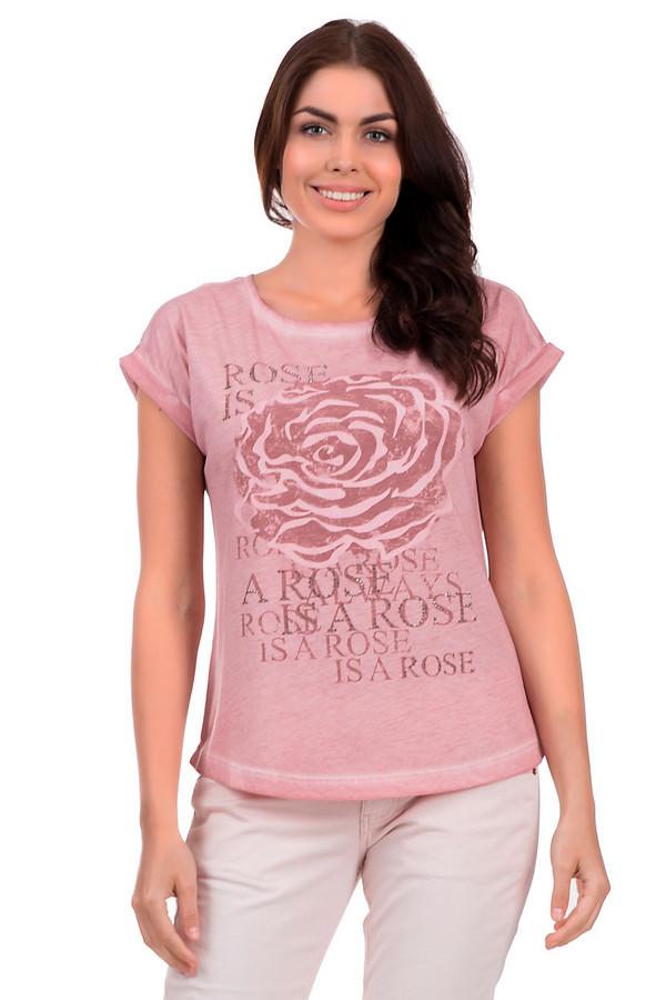 Футболка MonariФутболки<br>Летняя женская футболка торговой марки Monari, выполнена розовом цвете с эффектным цветочным принтом и надписями спереди. Данная модель дополнена короткими бесшовными рукавами с небольшим отворотом, U-образным вырезом. Изделие состоит из 50% хлопка и 50% полиэстера.<br><br>Размер RU: 42<br>Пол: Женский<br>Возраст: Взрослый<br>Материал: полиэстер 50%, хлопок 50%<br>Цвет: Розовый
