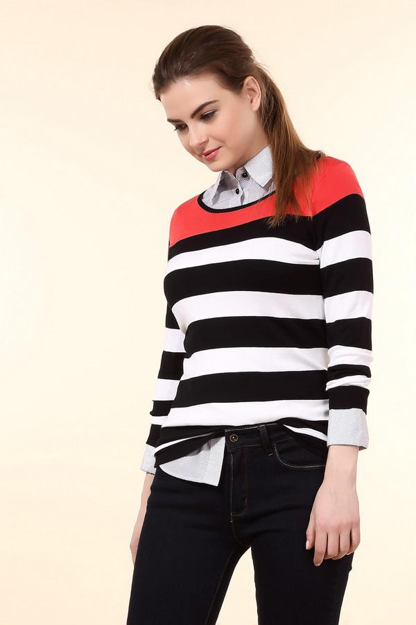 Пуловер Betty BarclayПуловеры<br>Модный женский пуловер от бренда Betty Barclay чёрного, белого и красного цветов. Это изделие было изготовлено из полиамида и вискозы. Данная модель предназначена для демисезонного периода. Дополнена широкими горизонтальными полосами разных цветов. Рукава изделия немного укорочены. Пуловер свободного кроя. Сочетается с узкими брюками и юбками.<br><br>Размер RU: 50<br>Пол: Женский<br>Возраст: Взрослый<br>Материал: полиамид 20%, вискоза 80%<br>Цвет: Разноцветный
