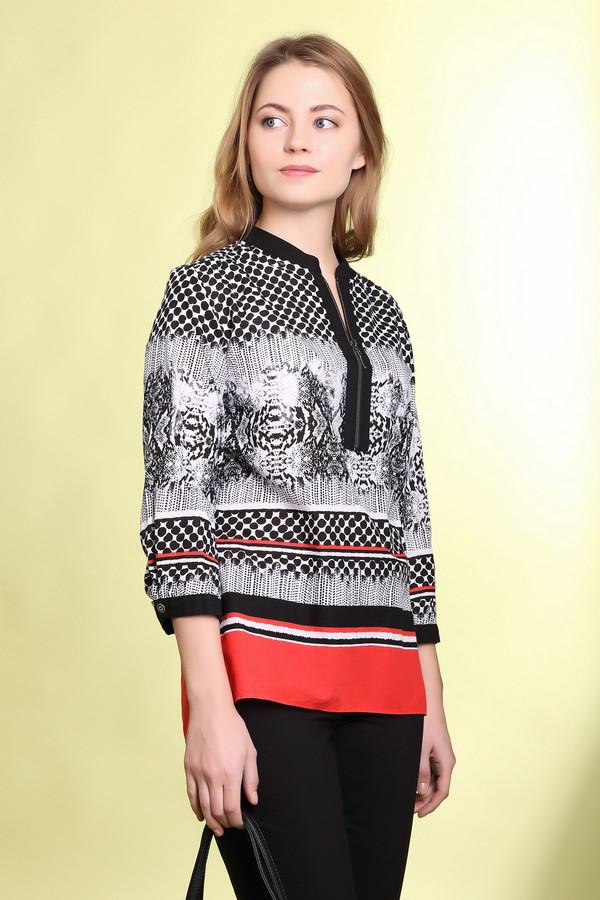 Блузa Betty BarclayБлузы<br>Стильная женская блуза Betty Barclay белого, черного и красного цветов. Это изделие было выполнено из натурального хлопка. Данная модель предназначена для демисезонного периода. Дополнена застежкой на молнии сверху, разными орнаментами и красной широкой полоской снизу. Рукава блузы укорочены.<br><br>Размер RU: 48<br>Пол: Женский<br>Возраст: Взрослый<br>Материал: хлопок 100%<br>Цвет: Разноцветный