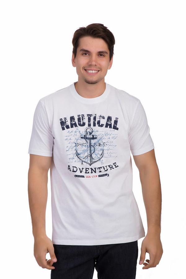 Футболкa MarvelisФутболки<br>Белая хлопковая футболка от бренда Marvelis прямого кроя невероятно приятная к телу. Изделие дополнено круглым вырезом ворота и короткими рукавами. Футболка декорирована шикарным морским рисунком с якорем и надписями контрастного темно-синего цвета. Эта футболка незаменима в летнем гардеробе, прекрасно будет сочетаться с  шортами .<br><br>Размер RU: 54-56<br>Пол: Мужской<br>Возраст: Взрослый<br>Материал: хлопок 100%<br>Цвет: Разноцветный