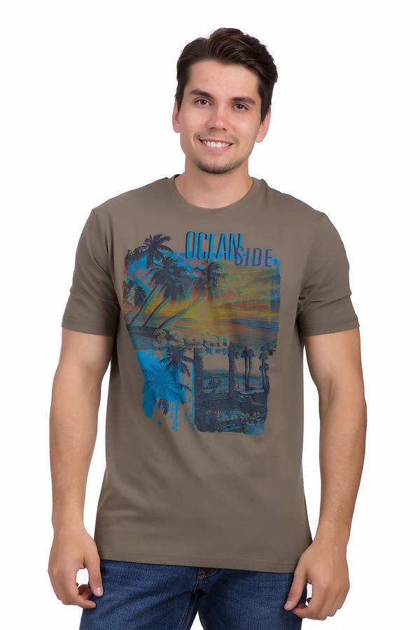 Футболкa MarvelisФутболки<br>Летняя футболка от бренда Marvelis для мужчин прилегающего кроя выполнена из натуральной хлопковой ткани цвета хаки. Изделие дополнено круглым воротом и короткими рукавами. Футболка декорирована ярким фотопринтом с морскими пейзажами и надписями. Гармонично смотрится с   шортами   и создает позитивное летнее настроение.<br><br>Размер RU: 58<br>Пол: Мужской<br>Возраст: Взрослый<br>Материал: хлопок 100%<br>Цвет: Разноцветный