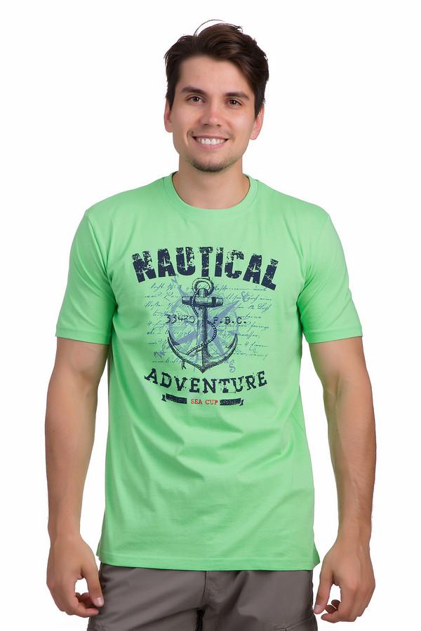 Футболкa MarvelisФутболки<br>Зеленая хлопковая футболка от бренда Marvelis прямого кроя невероятно приятная к телу. Изделие дополнено круглым вырезом ворота и короткими рукавами. Футболка декорирована шикарным морским рисунком с якорем и надписями контрастного темно-синего цвета. Эта футболка незаменима в летнем гардеробе, прекрасно будет сочетаться с   шортами  .<br><br>Размер RU: 44<br>Пол: Мужской<br>Возраст: Взрослый<br>Материал: хлопок 100%<br>Цвет: Разноцветный