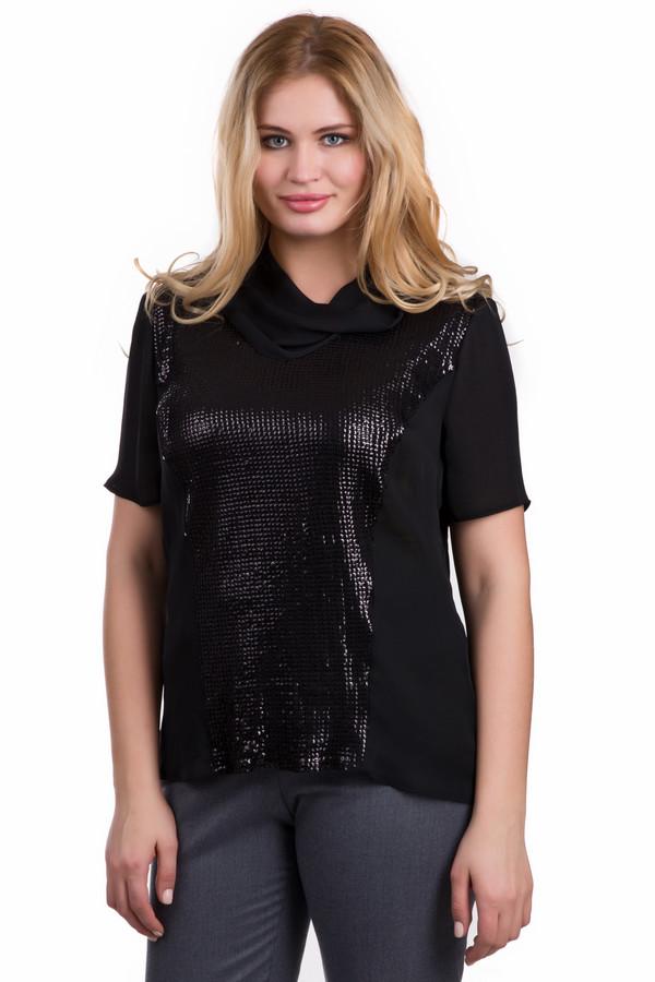 Блузa SteilmannБлузы<br>Оригинальная женская блуза Steilmann черного цвета. Данное изделие было выполнено из полиэстера. Модель предназначена для летнего сезона. Дополнена оригинальным воротом и вставками из черных пайеток. Рукава у этой блузы сильно укорочены. Это интересное и стильное решение для вечерней прогулки.<br><br>Размер RU: 44<br>Пол: Женский<br>Возраст: Взрослый<br>Материал: полиэстер 100%<br>Цвет: Чёрный