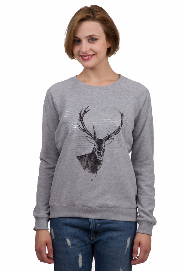 Пуловер SteilmannПуловеры<br>Стильный женский пуловер от бренда Steilmann черного и серебристого цветов. Это изделие было изготовлено из полиэстера и хлопка. Данная модель предназначена для демисезонного периода. Дополнена изображением оленя на серебристом фоне. Пуловер свободного кроя и с длинными рукавами. Практичный и в то же время оригинальный вариант для прохладной погоды.<br><br>Размер RU: 44<br>Пол: Женский<br>Возраст: Взрослый<br>Материал: полиэстер 20%, хлопок 80%<br>Цвет: Серебристый