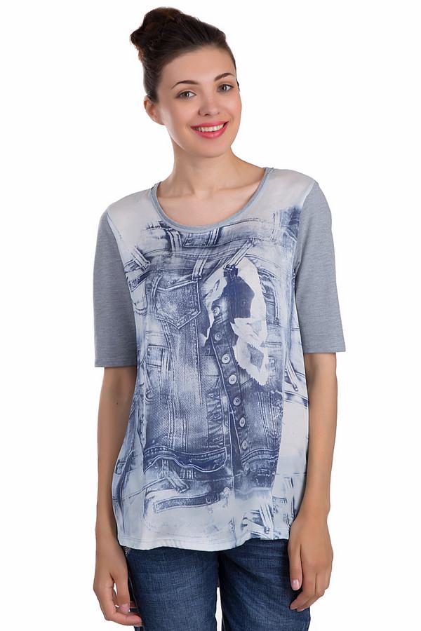 Футболка Marc AurelФутболки<br>Стильная женская футболка от бренда Marc Aurel свободного кроя выполнена в серо-голубой гамме. Изделие дополнено: круглым воротом, удлиненной спинкой и короткими рукавами. Футболка украшена оригинальным принтом в виде элементов одежды из денима. Гармонично будет смотреться с  джинсами  или  шортами .<br><br>Размер RU: 44<br>Пол: Женский<br>Возраст: Взрослый<br>Материал: полиэстер 15%, хлопок 85%<br>Цвет: Разноцветный