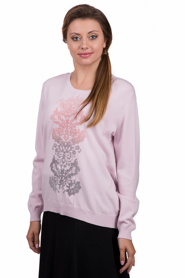 Пуловер Eugen KleinПуловеры<br>Модный женский пуловер Eugen Klein розового цвета с серыми элементами. Это изделие было выполнено из эластана, полиакрила и модала. Данная модель является демисезонной. Пуловер свободного кроя. Дополнен разноцветным рисунком по центру. Рукава длинные. Задняя часть длиннее передней. Отлично сочетается как с юбками, так и с брюками.<br><br>Размер RU: 52<br>Пол: Женский<br>Возраст: Взрослый<br>Материал: эластан 14%, полиакрил 40%, модал 46%<br>Цвет: Разноцветный