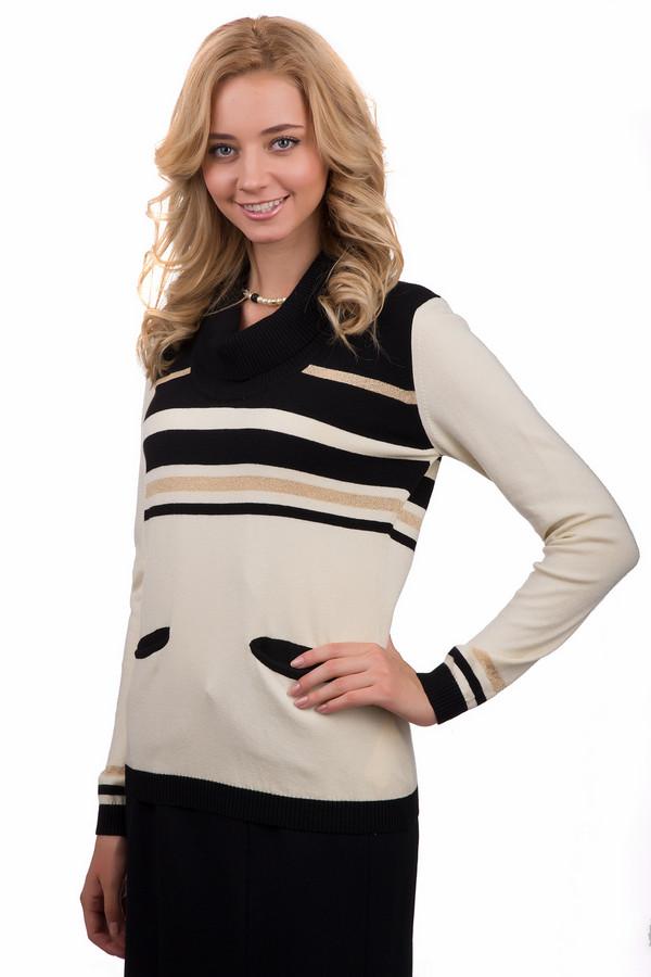 Пуловер Eugen KleinПуловеры<br>Стильный женский пуловер Eugen Klein бежевого цвета с чёрными и золотистыми элементами. Эта модель была сделана из эластана, полиакрила и модала. Данное изделие предназначено для демисезонного периода. Пуловер свободного кроя, с длинными рукавами. Дополнен боковыми карманами и полосами сверху.<br><br>Размер RU: 50<br>Пол: Женский<br>Возраст: Взрослый<br>Материал: эластан 14%, полиакрил 40%, модал 46%<br>Цвет: Разноцветный