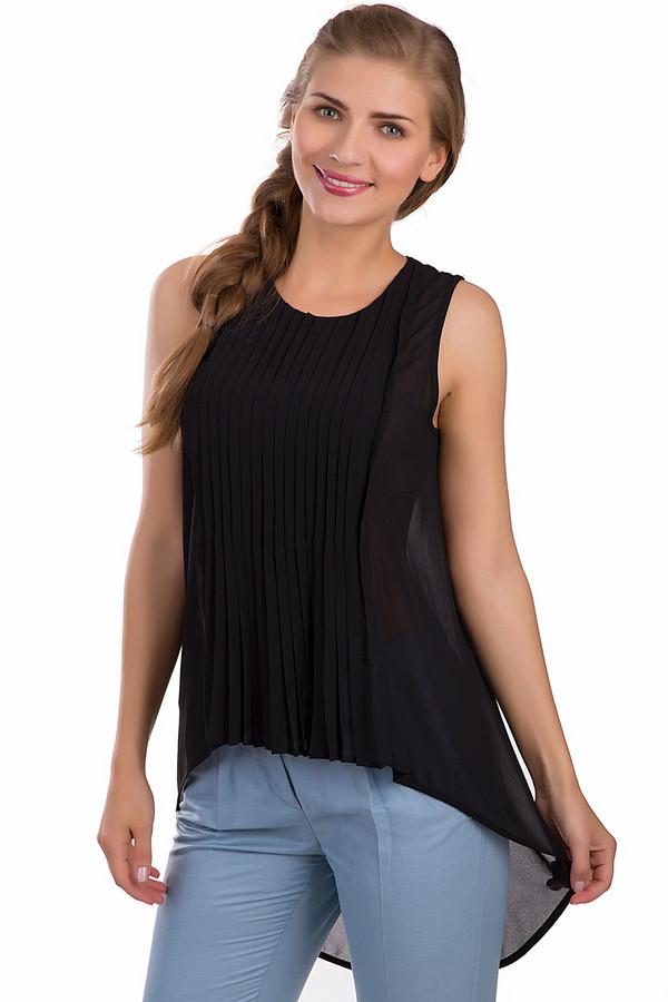 Топ OuiТопы<br>Модный женский топ Oui черного цвета. Это изделие выполнено из полиэстера. Данная модель предназначена для теплой летней погоды. Спинка топа длиннее, чем передняя часть. Изделие свободного кроя. Придаст любому повседневному или вечернему образу легкости и беззаботности. Сочетается с облегающими юбками и брюками.<br><br>Размер RU: 46<br>Пол: Женский<br>Возраст: Взрослый<br>Материал: полиэстер 100%<br>Цвет: Чёрный
