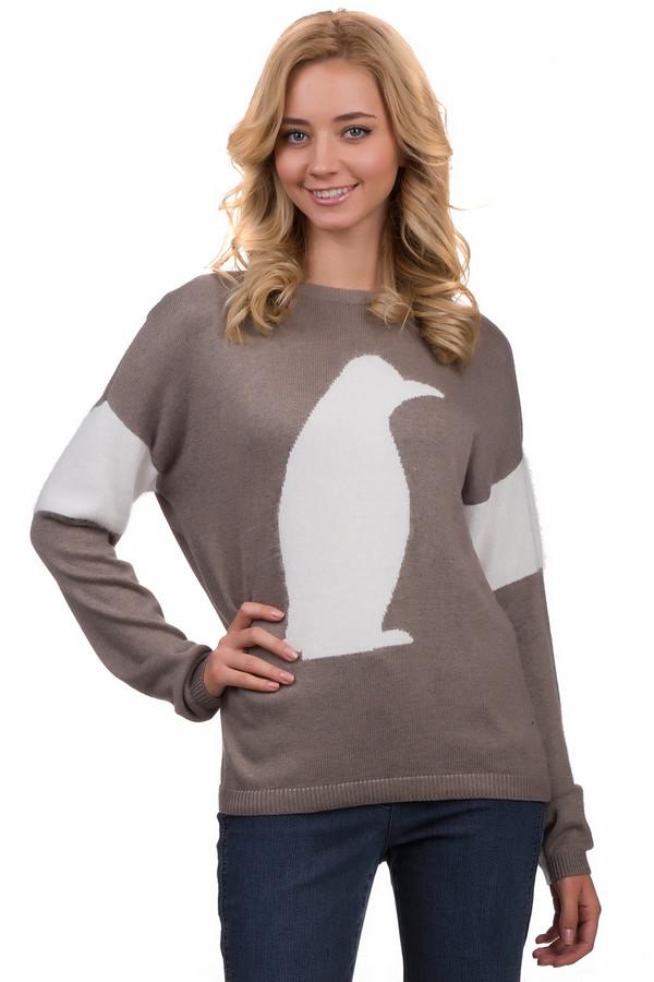 Пуловер OuiПуловеры<br>Стильный пуловер Oui бежевого цвета с оригинальным изображением пингвина в профиль. Модель свободного кроя с округлым вырезом горловины, но стоит повернуться спиной все меняется. Вырез делает этот пуловер неповторимым. Можно сочетать с джинсами-скинни.<br><br>Размер RU: 48<br>Пол: Женский<br>Возраст: Взрослый<br>Материал: полиамид 35%, вискоза 35%, хлопок 27%, шерсть 3%<br>Цвет: Белый
