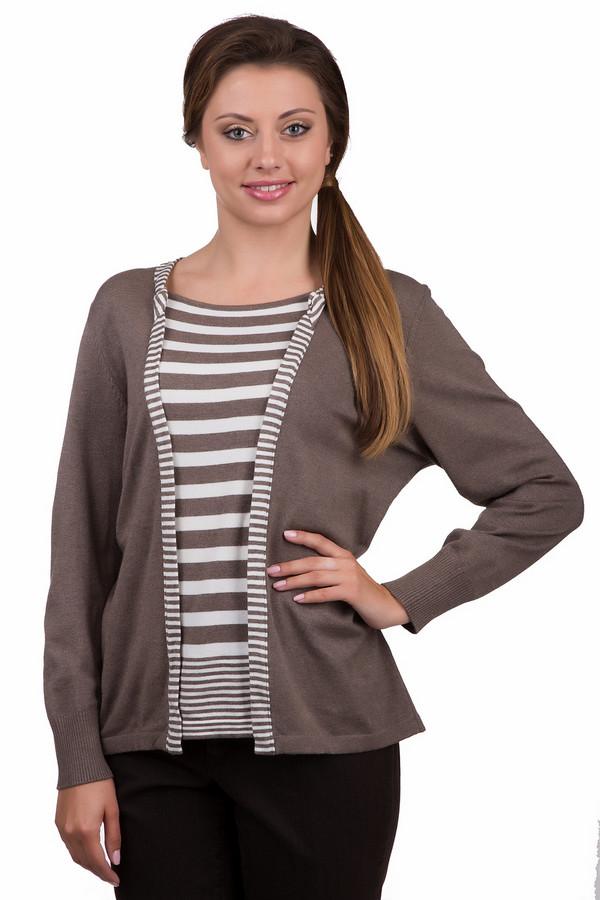 Пуловер Rabe collectionПуловеры<br>Практичный женский пуловер Rabe collection бежевого цвета с белыми элементами. Это изделие было выполнено из полиамида, полиакрила и модала. Данная модель предназначена для демисезонного периода. Пуловер свободного кроя. Дополнен мелкими полосами. Не застегивается, а запахивается. Хорошо смотрится со светлой одеждой.<br><br>Размер RU: 54<br>Пол: Женский<br>Возраст: Взрослый<br>Материал: полиамид 15%, полиакрил 40%, модал 45%<br>Цвет: Белый