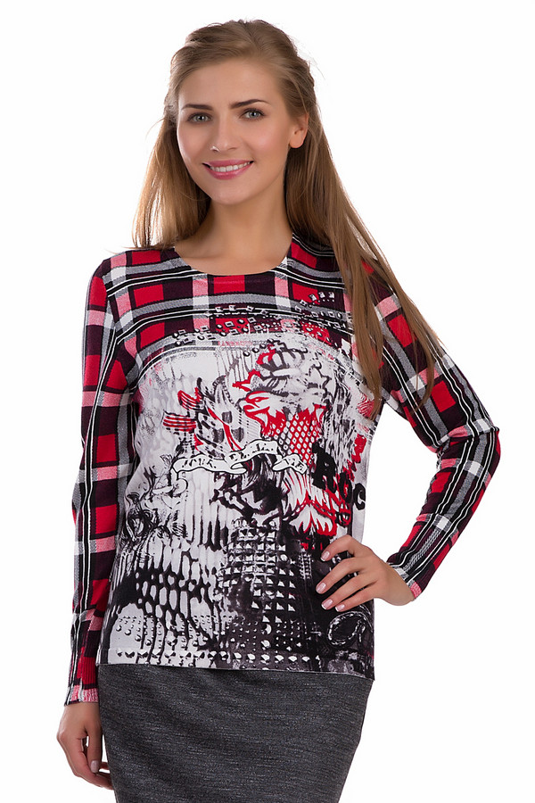 Пуловер Rabe collectionПуловеры<br>Молодежный пуловер Rabe collection черного, красного, серого и белого цветов. Это изделие было выполнено из полиамида и вискозы. Данная модель является демисезонной. Пуловер дополнен красным изображением сердца и клетчатым рисунком. У изделия длинные рукава и свободный крой. Такая вещь будет стильным и ярким акцентом в образе.<br><br>Размер RU: 52<br>Пол: Женский<br>Возраст: Взрослый<br>Материал: полиамид 20%, вискоза 80%<br>Цвет: Разноцветный