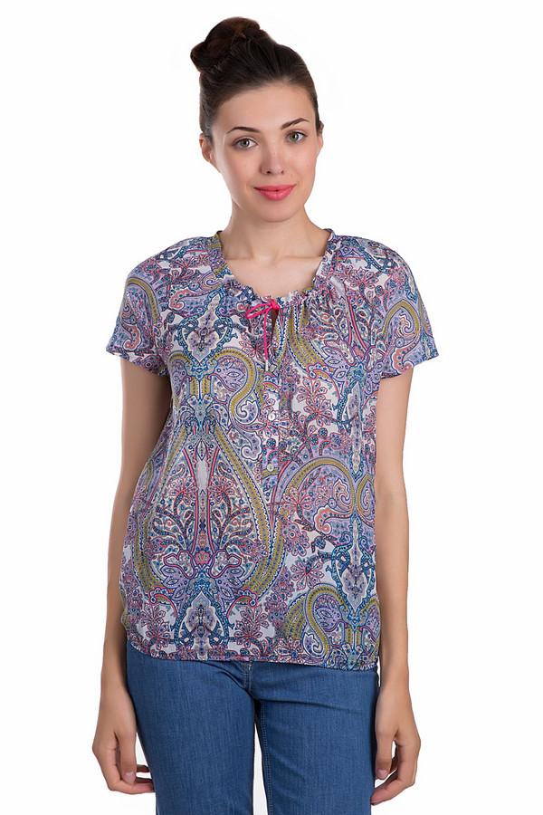 Блузa TaifunБлузы<br>Легкая женская блуза от бренда Taifun прямого кроя украшена восточным принтом. Изделие дополнено круглым воротом с завязками и короткими рукавами. Прекрасно будет смотреться как с  юбками , так и с  джинсами .<br><br>Размер RU: 44<br>Пол: Женский<br>Возраст: Взрослый<br>Материал: хлопок 100%<br>Цвет: Разноцветный