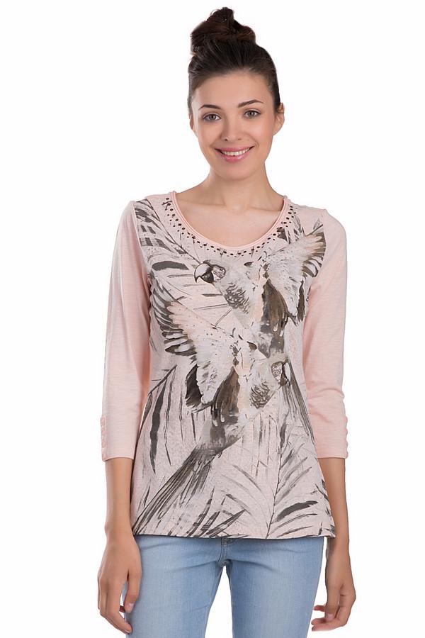 Лонгслив Betty BarclayЛонгсливы<br>Модный женский лонгслив Betty Barclay розового, черного и еоричневого цветов. Это изделие было выполнено из натурального хлопка. Данная модель предназначена для демисезонного периода. Дополнена черным изображением попугая и серебристыми камнями поверх рисунка. Лонгслив сидит по фигуре. Рукава слегка укорочены.<br><br>Размер RU: 50<br>Пол: Женский<br>Возраст: Взрослый<br>Материал: хлопок 100%<br>Цвет: Разноцветный