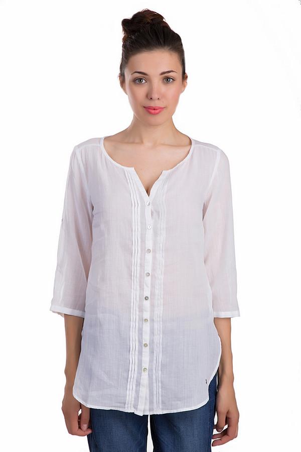 Блузa s.OliverБлузы<br>Нежная женская блуза s.Oliver белого цвета. Это изделие было выполнено из хлопка и рами. Данная модель предназначена для летнего сезона. Дополнена складками посерединке и разрезами по бокам. Застегивается с помощью маленьких белых пуговиц. Рукава у блузы длинные. Изделие полупрозрачное и свободного кроя.<br><br>Размер RU: 44<br>Пол: Женский<br>Возраст: Взрослый<br>Материал: хлопок 56%, рами 44%<br>Цвет: Белый
