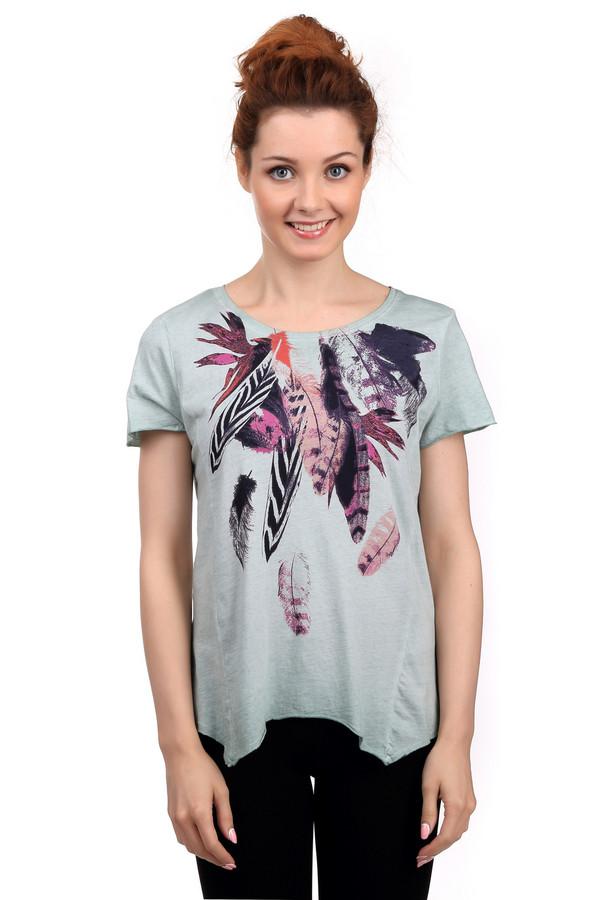 Футболка Tom TailorФутболки<br>Стильная женская футболка Tom Tailor серого, розового, оранжевого и черного цветов. Данное изделие было изготовлено из натурального хлопка. Эта модель предназначена для летнего сезона. Сбоку футболка немного удлинена. Дополнена разноцветным изображением перьев на зеленом фоне. Смотрится стильно и молодежно.<br><br>Размер RU: 44-46<br>Пол: Женский<br>Возраст: Взрослый<br>Материал: хлопок 100%<br>Цвет: Разноцветный