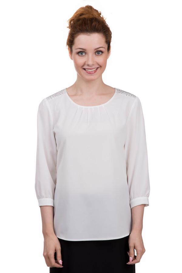 Блузa TaifunБлузы<br>Модная женская блуза от бренда Taifun белого цвета. Эта модель была сделана из полиэстера. Изделие является демисезонным. Оно дополнено серебристыми камнями на плечах и манжетами на рукавах. Рукава укороченные. Это блузка свободного кроя. Отлично смотрится с узкими юбками и брюками. Сочетается с одеждой разных цветов.<br><br>Размер RU: 46<br>Пол: Женский<br>Возраст: Взрослый<br>Материал: полиэстер 100%<br>Цвет: Белый