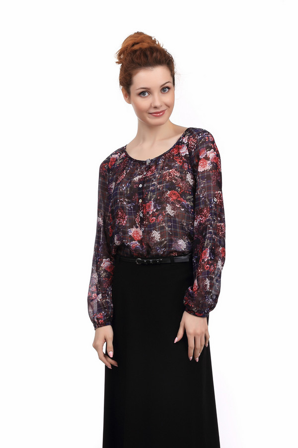Блузa TaifunБлузы<br>Яркая женская блуза от бренда Taifun чёрного, белого, красного, бежевого и синего цветов. Это изделие было изготовлено из полиэстера. Данная модель предназначена для демисезонного периода. Дополнена темным цветочным рисунком. Блуза застегивается с помощью маленьких белых пуговиц. Отлично сочетается как с юбками, так и с брюками.<br><br>Размер RU: 40<br>Пол: Женский<br>Возраст: Взрослый<br>Материал: полиэстер 100%<br>Цвет: Разноцветный
