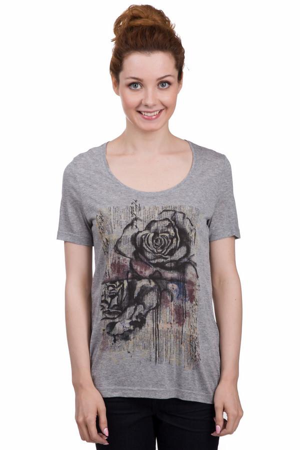 Футболка TaifunФутболки<br>Оригинальная женская футболка от бренда Taifun серого, чёрного, бордового и бежевого цветов. Это изделие было выполнено из натурального хлопка. Данная модель предназначена для летнего сезона. Дополнена черным изображением розы на сером фоне. Футболка свободного кроя. Хорошо сочетается с одеждой разных цветов. Отлично смотрится с джинсовыми вещами и черной однотонной одеждой.<br><br>Размер RU: 44<br>Пол: Женский<br>Возраст: Взрослый<br>Материал: вискоза 100%<br>Цвет: Разноцветный