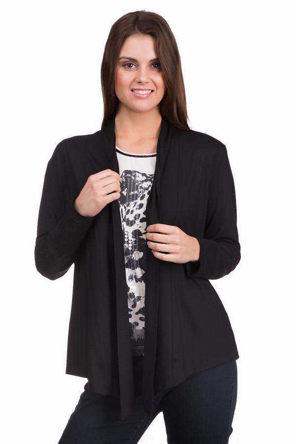 Жакет Eugen KleinЖакеты<br>Модный женский жакет Eugen Klein черного цвета. Это изделие было изготовлено из вискозы и эластана. Данная модель предназначена для демисезонного периода. Жакет свободного кроя и с длинными рукавами. Не застегивается, а запахивается. Сочетается с одеждой разных стилей, расцветок и фактур. Практичное и стильное решение на каждый день.<br><br>Размер RU: 46<br>Пол: Женский<br>Возраст: Взрослый<br>Материал: вискоза 93%, эластан 7%<br>Цвет: Чёрный