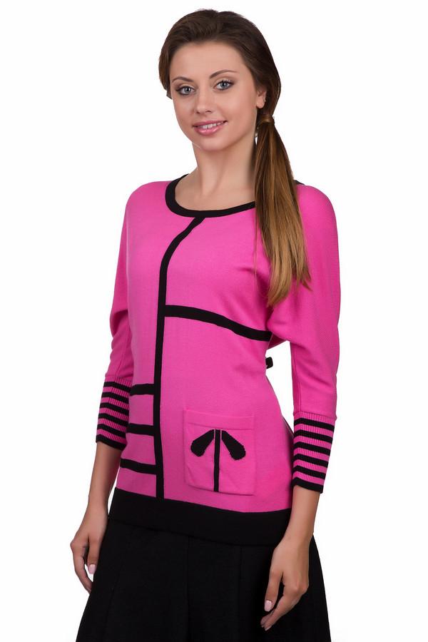 Пуловер Eugen KleinПуловеры<br>Яркий женский пуловер Eugen Klein розового цвета с черными элементами. Это изделие было выполнено из эластана, полиакрила и модала. Данная модель предназначена для демисезонного периода. Пуловер сидит по фигуре. Дополнен черными полосами и маленьким карманом сбоку. Рукава у него укороченные. Придаст любому образу яркости.<br><br>Размер RU: 48<br>Пол: Женский<br>Возраст: Взрослый<br>Материал: эластан 14%, полиакрил 40%, модал 46%<br>Цвет: Чёрный