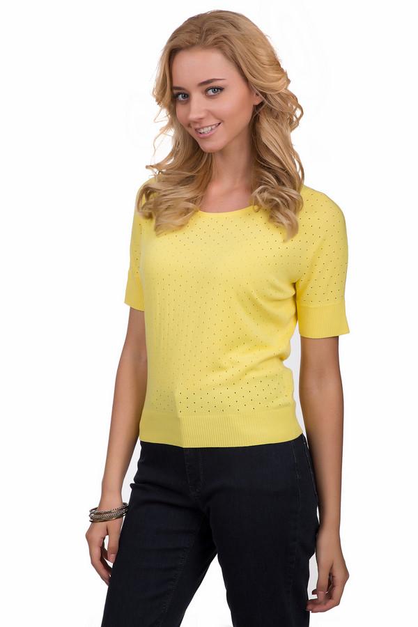 Джемпер Sai-KuДжемперы<br>Оригинальный женский джемпер от бренда Sai-Ku желтого цвета. Это изделие было изготовлено из вискозы и полиэстера. Данная модель предназначена для летнего сезона. Дополнена маленькими дырочками. Джемпер укороченный и свободного кроя. Рукава у этого изделия короткие. Будет ярким акцентом в образе. Хороший вариант для прогулок.<br><br>Размер RU: 44-46<br>Пол: Женский<br>Возраст: Взрослый<br>Материал: вискоза 72%, полиэстер 28%<br>Цвет: Жёлтый