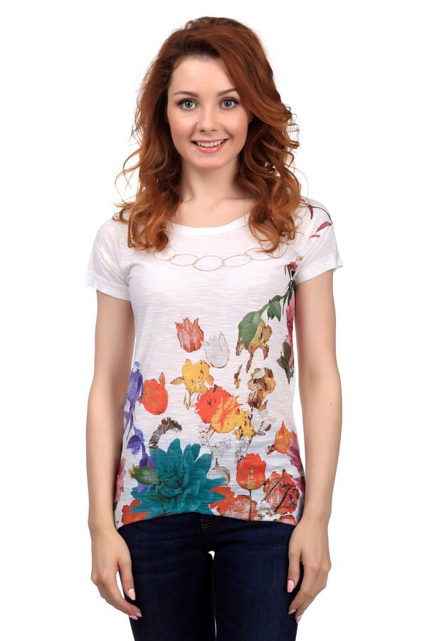 Футболка Sai-KuФутболки<br>Модная женская футболка от бренда Sai-Ku белого, оранжевого, жёлтого, зелёного, синего и фиолетового цветов. Это изделие было выполнено из полиэстера. Данная модель предназначена для летнего сезона. Дополнена разноцветным цветочным рисунком на белом фоне. Футболка свободного кроя. По бокам она немного длиннее, чем спинка и передняя часть.<br><br>Размер RU: 44<br>Пол: Женский<br>Возраст: Взрослый<br>Материал: полиэстер 100%<br>Цвет: Разноцветный