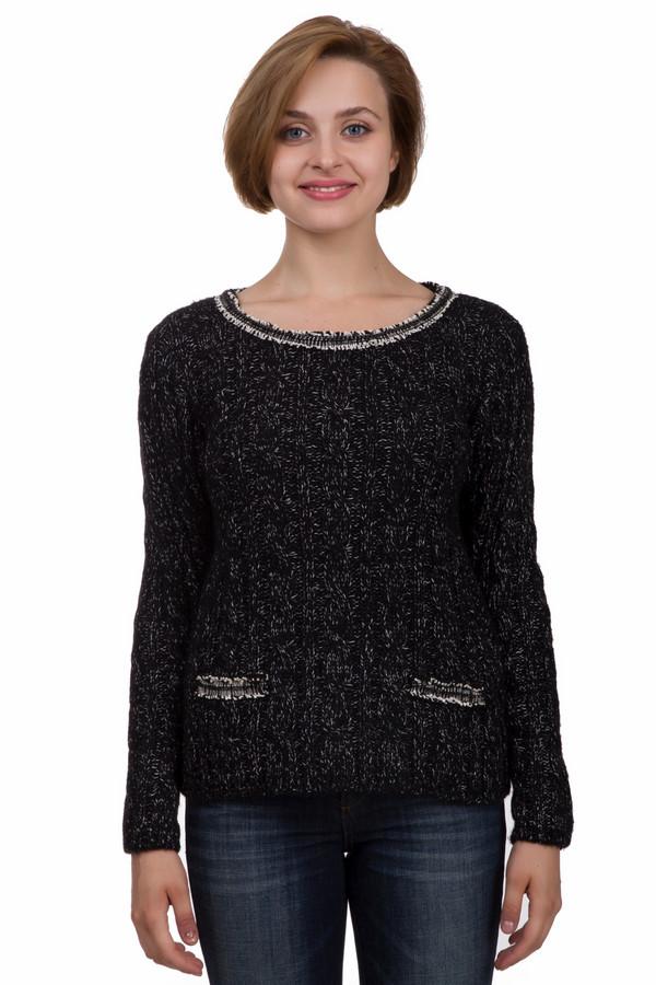 Пуловер MonariПуловеры<br>Практичный женский пуловер от бренда Monari чёрного и белого цветов. Эта модель была сделана из хлопка, полиамида и полиакрила. Данное изделие было предназначено для зимнего сезона. Дополнено узором из крупных косичек, вставками из серых ниток на вороте и по бокам. Пуловер свободного кроя и с длинными рукавами. Отличный вариант для повседневного образа.<br><br>Размер RU: 42<br>Пол: Женский<br>Возраст: Взрослый<br>Материал: хлопок 12%, полиамид 12%, полиакрил 76%<br>Цвет: Белый