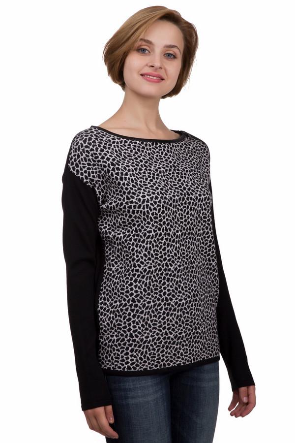 Пуловер MonariПуловеры<br>Оригинальный женский пуловер от бренда Monari чёрного и белого цветов. Это изделие было выполнено из хлопка, шерсти и полиакрила. Данная модель предназначена для зимнего периода. Дополнена черно-белым рисунком, имитирующем кожу жирафа и разрезами по бокам. Рукава выполнены полностью в черный цвет. Пуловер свободного кроя. Отличный вариант на каждый день.<br><br>Размер RU: 44<br>Пол: Женский<br>Возраст: Взрослый<br>Материал: хлопок 16%, шерсть 42%, полиакрил 42%<br>Цвет: Белый