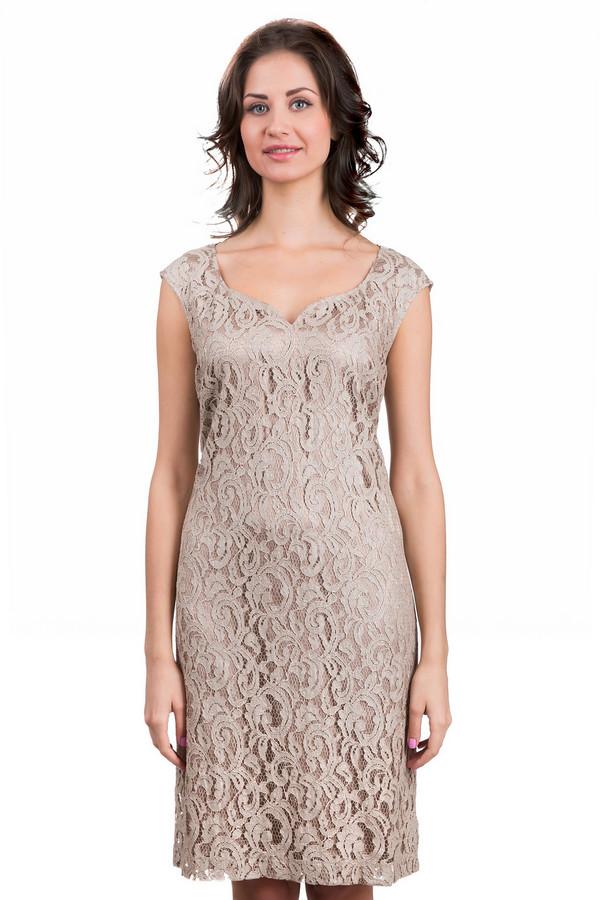 Платье SteilmannПлатья<br>Нежное женское платье Steilmann бежевого цвета. Это изделие было изготовлено из полиамида и хлопка. Модель можно носить круглый год. Платье сидит по фигуре, средней длины. Рукава короткие. Дополнено вышивкой в тон. Лучше всего сочетается с яркими однотонными аксессуарами и туфлями на каблуке.<br><br>Размер RU: 48<br>Пол: Женский<br>Возраст: Взрослый<br>Материал: полиамид 40%, хлопок 60%<br>Цвет: Бежевый