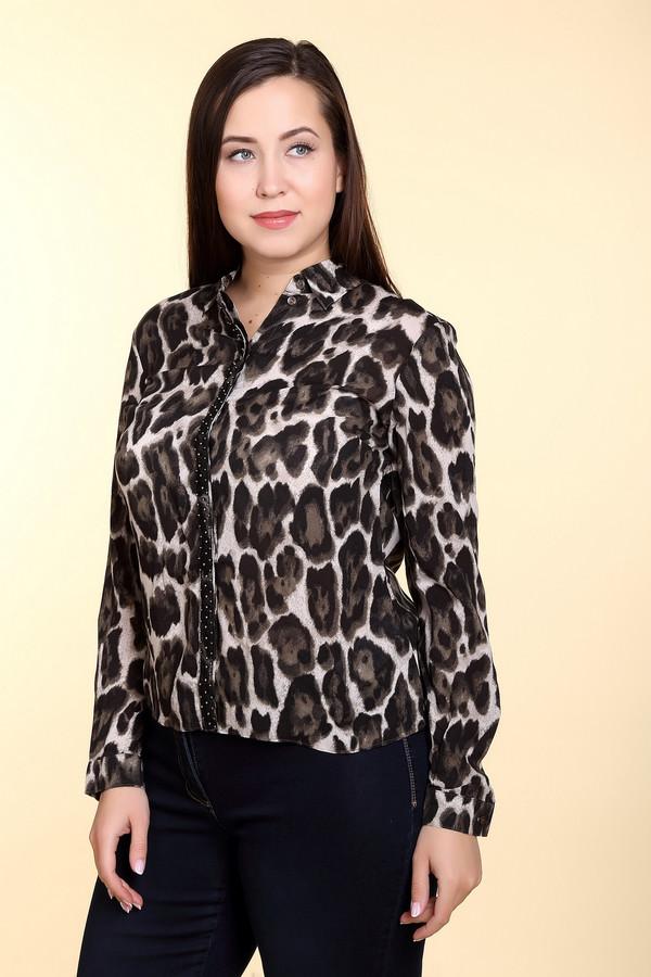 Блузa Gerry WeberБлузы<br>Оригинальная женская блуза Gerry Weber бежевого цвета с чёрными и коричневыми элементами. Это изделие было изготовлено из вискозы. Данная модель является демисезонной. Блуза свободного кроя. Дополнена леопардовым крупным рисунком и сетчатой вставкой с камнями. Лучше всего сочетается с однотонной черной и коричневой одеждой.<br><br>Размер RU: 48<br>Пол: Женский<br>Возраст: Взрослый<br>Материал: вискоза 100%<br>Цвет: Разноцветный