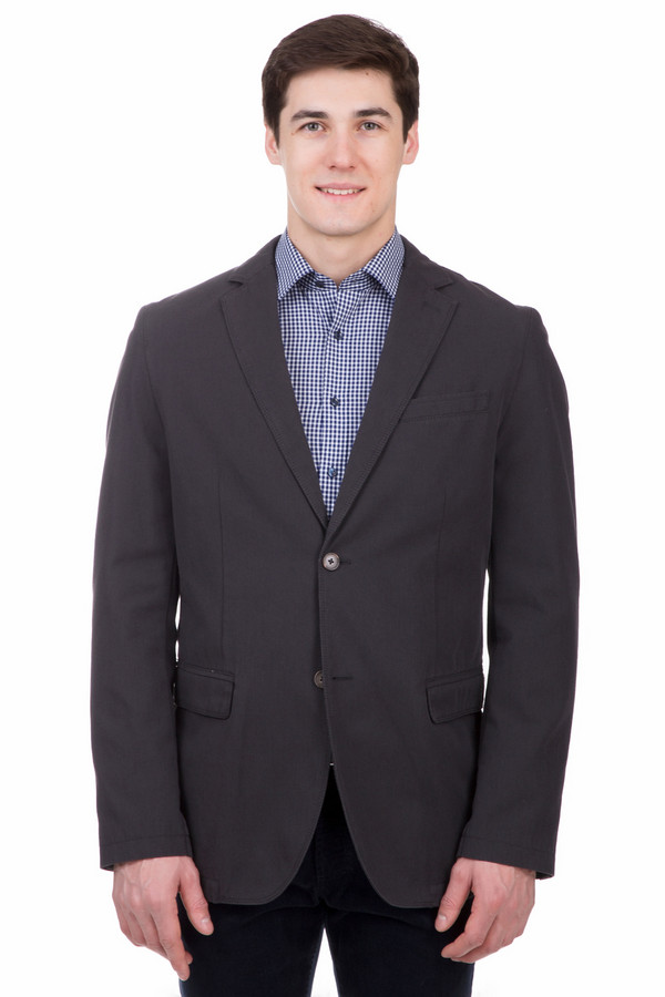 Пиджак CalamarПиджаки<br>Стильный пиджак от бренда Calamar приталенного кроя выполнен из плотного темно-синего материала. Изделие дополнено: отложным воротником, выточками, тремя внешними карманами, манжетами с пуговицами, один внутреннем карманом на молнии и одним карманом с застежкой-пуговица. Модель застегивается на пуговицы.  Подкладка 65% полиэфир 35% хлопок.<br><br>Размер RU: 50L<br>Пол: Мужской<br>Возраст: Взрослый<br>Материал: полиэстер 23%, хлопок 77%<br>Цвет: Синий