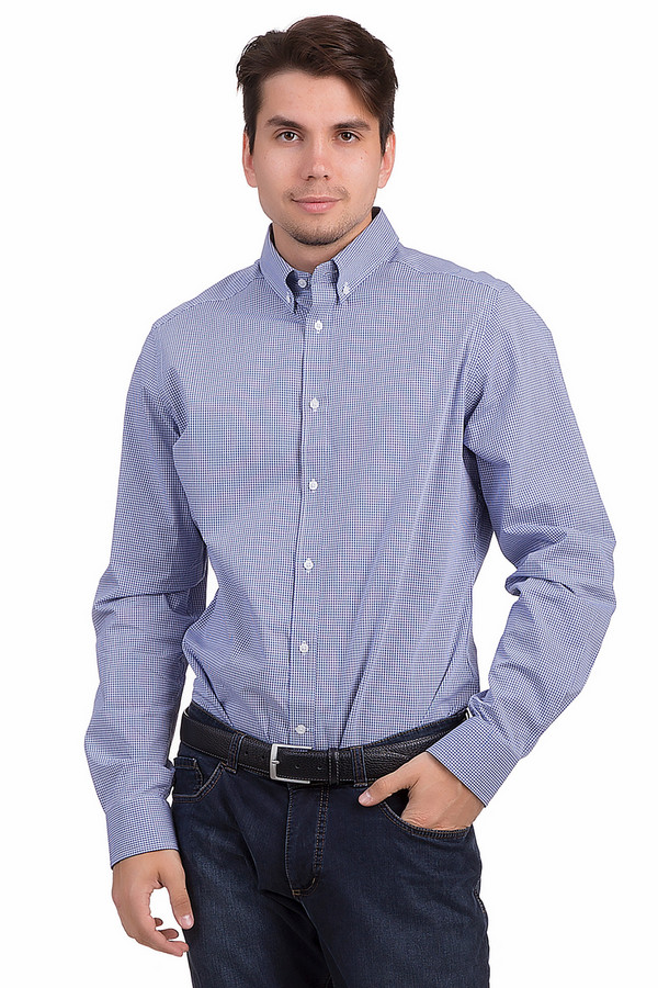 Рубашка с длинным рукавом PezzoДлинный рукав<br>Клетчатая рубашка от бренда Pezzo приталенного кроя представлена в бело-синих тоннах. Изделие дополнено отложным воротником с пуговицами и длинными рукавами. Центральная часть застегивается на планку с пуговицами. Рубашка выполнена из приятной на ощупь хлопковой ткани. Классическая рубашка отлично будет смотреться с  брюками .<br><br>Размер RU: 44<br>Пол: Мужской<br>Возраст: Взрослый<br>Материал: хлопок 100%<br>Цвет: Синий