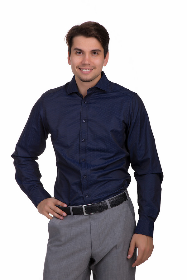 Рубашка с длинным рукавом PezzoДлинный рукав<br>Классическая рубашка от бренда Pezzo приталенного кроя выполнена из приятного на ощупь материала темно-фиолетового цвета. Изделие дополнено отложным воротником и длинными рукавами с манжетами на пуговицах. Центральная застежка-пуговицы. Рубашка оформлена темно-синем геометрическим принтом. Гармонично будет смотреться как с  брюками , так и с  классическими джинсами .<br><br>Размер RU: 40<br>Пол: Мужской<br>Возраст: Взрослый<br>Материал: полиэстер 50%, хлопок 25%, тенсель 25%<br>Цвет: Фиолетовый