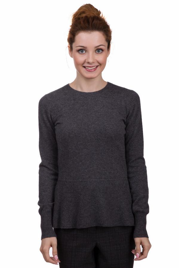 Пуловер Just ValeriПуловеры<br>Оригинальный пуловер от бренда Just Valeri выполнен из мягкого трикотажа темно-серого цвета. Изделие дополнено круглым воротом и длинными рукавами. Снизу пуловер оформлен баской. На спинке расположена декоративная планка с пуговицами в виде цветочков контрастного цвета. Ворот, манжеты и нижний кант оформлены эластичной трикотажной резинкой.<br><br>Размер RU: 42<br>Пол: Женский<br>Возраст: Взрослый<br>Материал: кашемир 100%<br>Цвет: Серый
