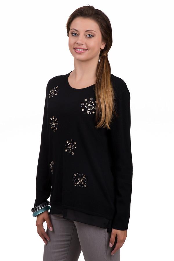 Пуловер Gerry WeberПуловеры<br>Модный женский пуловер Gerry Weber черного цвета. Это изделие было выполнено из полиамида, вискозы, хлопка и кашемира. Данная модель предназначена для демисезонного периода. Пуловер свободного кроя и с длинными рукавами. Дополнен мелким цветочным рисунком из серебристых камней. Отличный вариант на каждый день.<br><br>Размер RU: 48<br>Пол: Женский<br>Возраст: Взрослый<br>Материал: полиамид 25%, вискоза 45%, хлопок 27%, кашемир 3%<br>Цвет: Чёрный