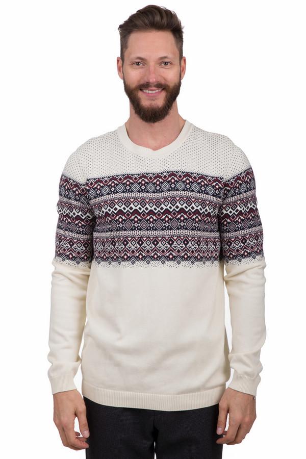 Джемпер Tom TailorДжемперы<br>Оригинальный мужской джемпер от бренда Tom Tailor белого цвета. Это изделие было выполнено из натурального хлопка. Модель является демисезонной. Дополнена резинкой на рукавах, снизу и на вороте, а также интересным орнаментом с чёрным и бордовым цветами на белом фоне. Отличный вариант на каждый день. Сочетается с одеждой разных стилей.<br><br>Размер RU: 50-52<br>Пол: Мужской<br>Возраст: Взрослый<br>Материал: хлопок 100%<br>Цвет: Разноцветный