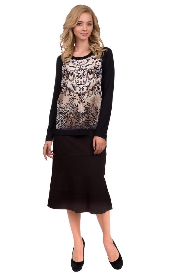 Юбка Betty BarclayЮбки<br>Строгая женская юбка Betty Barclay черного цвета. Это изделие было выполнено из вискозы, полиамида и эластана. Данная модель предназначена для демисезонного периода. Юбка средней длины. Сделана по форме годе. Дополнена резинкой сверху. Лучше всего сочетается с яркими пуловерами и свитерами. Прекрасный вариант на каждый день.<br><br>Размер RU: 48<br>Пол: Женский<br>Возраст: Взрослый<br>Материал: вискоза 70%, полиамид 26%, эластан 4%<br>Цвет: Чёрный