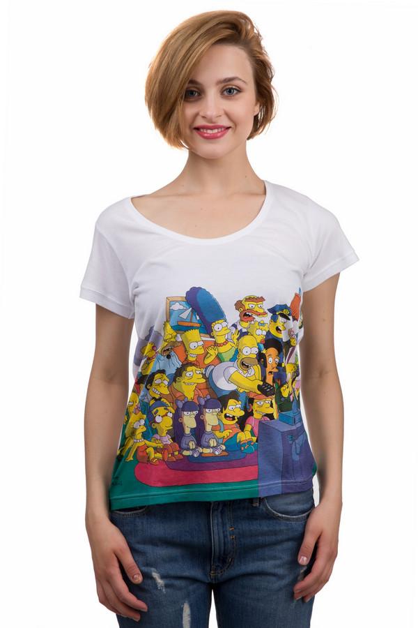 Футболка Eleven ParisФутболки<br>Оригинальная женская футболка от бренда Eleven Paris белого цвета. Это изделие было выполнено из натурального хлопка. Данная модель предназначена для летнего сезона. Дополнена разноцветным и ярким рисунком Симпсонов. Футболка сидит по фигуре. Лучше всего сочетается с джинсовыми вещами (штанами, шортами и юбками).<br><br>Размер RU: 44-46<br>Пол: Женский<br>Возраст: Взрослый<br>Материал: хлопок 100%<br>Цвет: Разноцветный