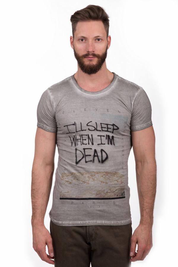 Футболкa Eleven ParisФутболки<br>Оригинальная мужская футболка от бренда Eleven Paris серого и чёрного цветов. Это изделие было выполнено из натурального хлопка. Данная модель предназначена для летнего сезона. Дополнена черной надписью Ill sleep when Im dead. Лучше всего сочетается со светлыми джинсами или брюками грязных оттенков.<br><br>Размер RU: 50-52<br>Пол: Мужской<br>Возраст: Взрослый<br>Материал: хлопок 100%<br>Цвет: Чёрный
