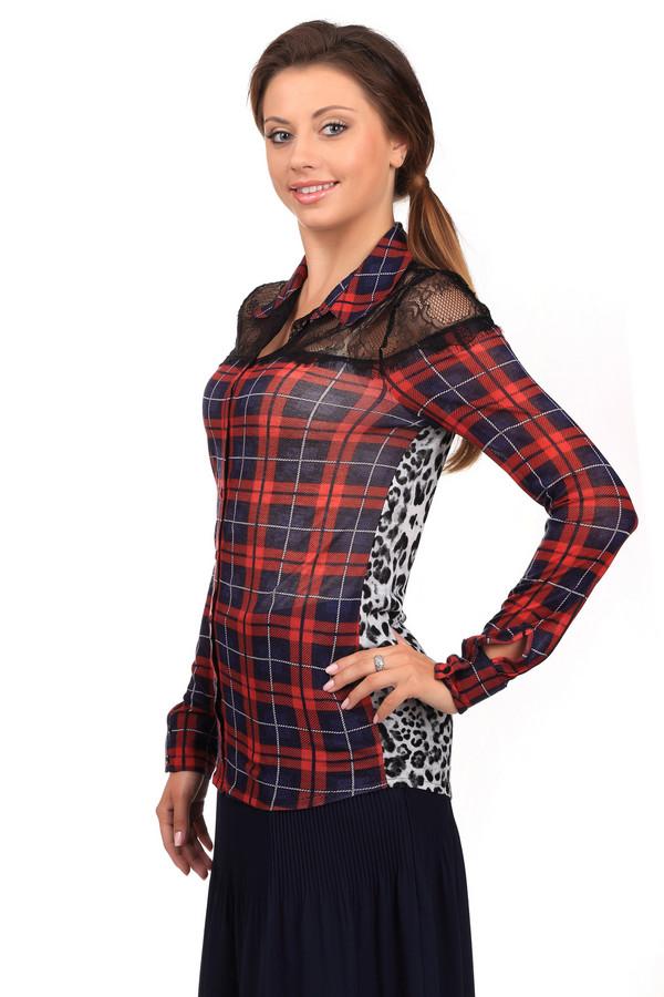 Блузa OuiБлузы<br>Яркая женская блуза Oui красного, белого и черного цветов. Это изделие было выполнено из вискозы. Данная модель предназначена для демисезонного периода. Дополнено клетчатым и леопардовым рисунком, кружевными черными вставками. Застегивается с помощью маленьких черных пуговиц. Такая рубашка сама по себе является ярким акцентом, поэтому лучше сочетается с однотонными вещами.<br><br>Размер RU: 46<br>Пол: Женский<br>Возраст: Взрослый<br>Материал: вискоза 100%<br>Цвет: Разноцветный