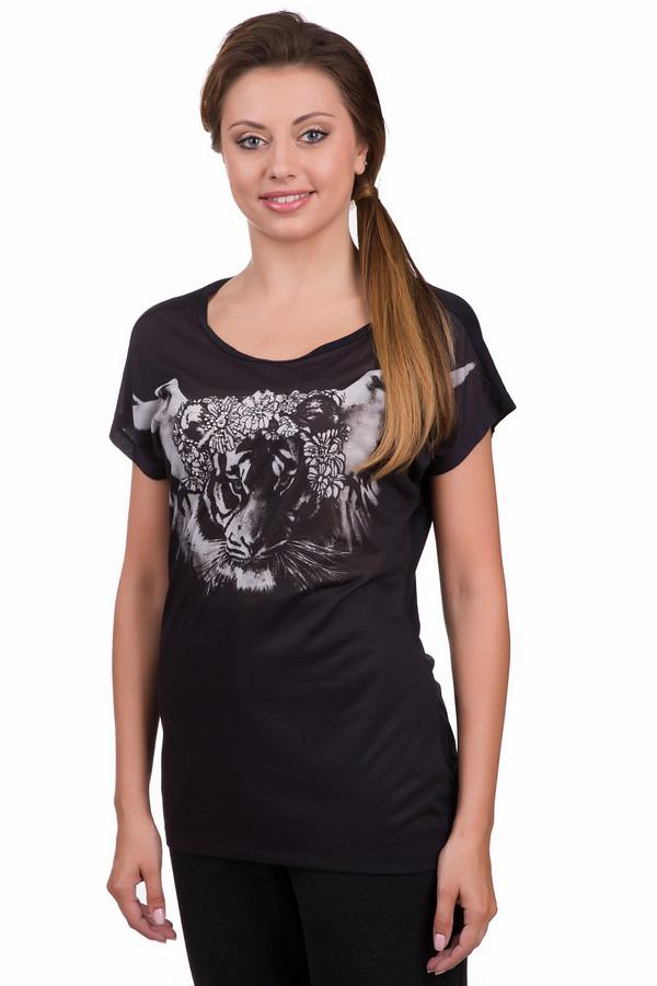 Футболка OuiФутболки<br>Оригинальный женская футболка Oui черного цвета с серыми и серебристыми элементами. Это изделие было выполнено из вискозы. Данная модель предназначена для теплой летней погоды. Футболка свободного кроя. Дополнена серым изображением тигра на черном фоне. Сочетается с разной одеждой. Лучше всего смотрится с джинсовыми шортами.<br><br>Размер RU: 46<br>Пол: Женский<br>Возраст: Взрослый<br>Материал: вискоза 100%<br>Цвет: Разноцветный
