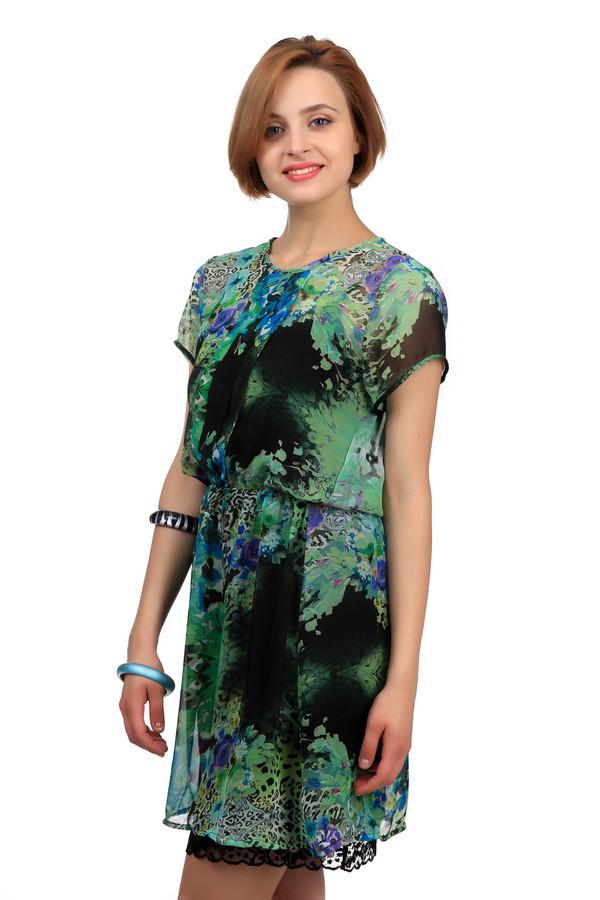 Платье Sai-KuПлатья<br>Яркое женское платье Sai Ku чёрного, белого, зелёного и фиолетового цветов. Это изделие было изготовлено из полиэстера. Данная модель предназначена для теплой летней погоды. Платье средней длины. Дополнено ярким разноцветным рисунком и кружевной вставкой. Рукава у изделия короткие. Есть акцент на талии.<br><br>Размер RU: 44<br>Пол: Женский<br>Возраст: Взрослый<br>Материал: полиэстер 100%<br>Цвет: Разноцветный