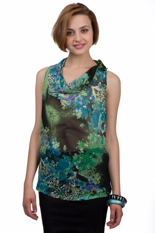 Блузa Sai-KuБлузы<br>Яркая женская блуза Sai-Ku чёрного, зелёного, голубого, синего и фиолетового цветов. Это изделие было выполнено из полиэстера. Данная модель предназначена для летнего сезона. Дополнена темным цветочным рисунком . Блуза свободного кроя, без рукавов. Лучше всего сочетается с узкими юбками.<br><br>Размер RU: 46<br>Пол: Женский<br>Возраст: Взрослый<br>Материал: полиэстер 100%<br>Цвет: Разноцветный