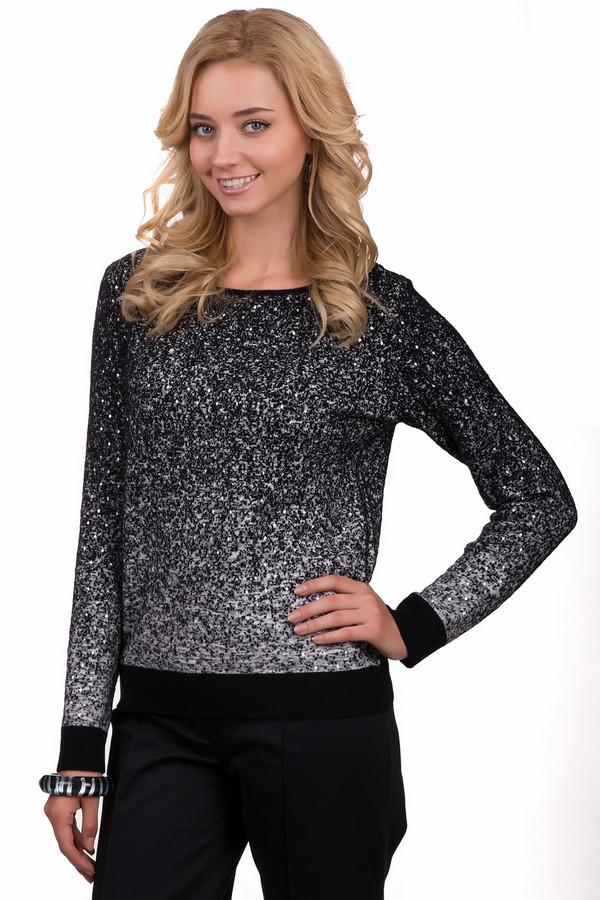 Пуловер Marc CainПуловеры<br>Яркий женский пуловер Marc Cain черного цвета с серыми и белыми элементами. Это изделие было изготовлено из полиамида, шерсти и вискозы. Данная модель предназначена для демисезонного периода. Пуловер свободного кроя и с длинными рукавами. Дополнен маленькими блестящими камнями. Прекрасный вариант для праздничного образа.<br><br>Размер RU: 50<br>Пол: Женский<br>Возраст: Взрослый<br>Материал: полиамид 37%, шерсть 37%, вискоза 36%<br>Цвет: Разноцветный