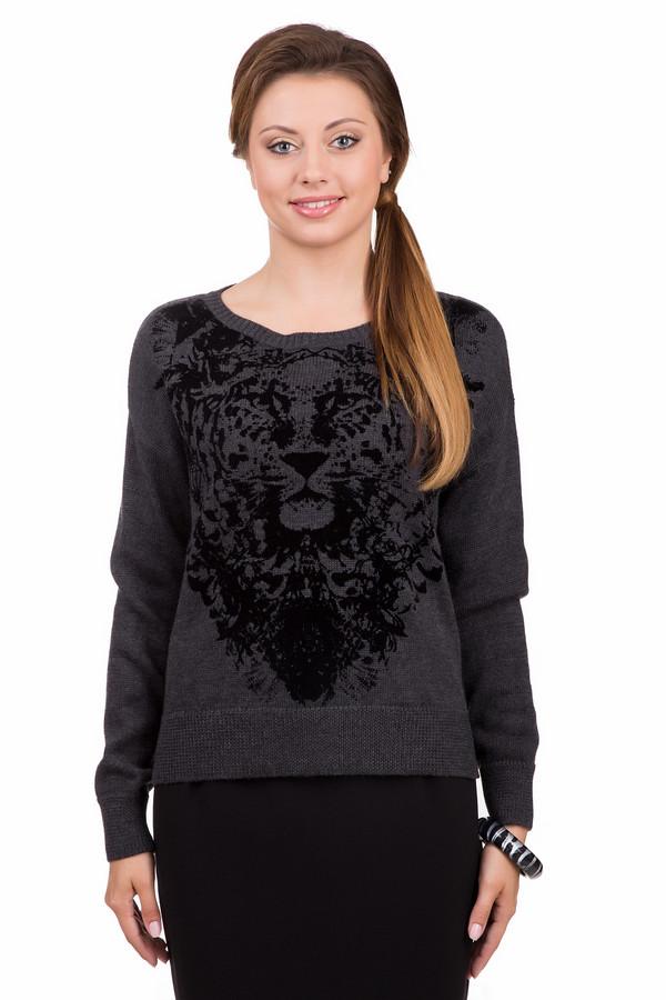 Пуловер PassportПуловеры<br>Удобный женский пуловер Passport серого цвета с черными элементами. Это изделие было выполнено из полиакрила, шерсти и мерино. Данная модель предназначена для холодной зимней погоды. Пуловер свободного кроя и с длинными рукавами. Дополнен черным изображением тигра. Сочетается с одеждой разных стилей и расцветок.<br><br>Размер RU: 48<br>Пол: Женский<br>Возраст: Взрослый<br>Материал: полиакрил 50%, шерсть мерино 50%<br>Цвет: Чёрный