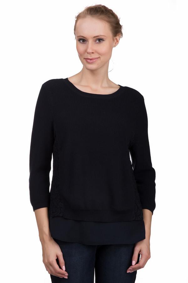 Пуловер OuiПуловеры<br>Стильный женский пуловер Oui темно-синего цвета. Это изделие было выполнено из натурального хлопка. Данная модель предназначена для демисезонного периода. Пуловер свободного кроя и с укороченными рукавами. Дополнен двумя слоями: мелкой вязки и из легкой ткани. Лучше всего сочетать с классическими темными джинсами или брюками.<br><br>Размер RU: 50<br>Пол: Женский<br>Возраст: Взрослый<br>Материал: хлопок 100%<br>Цвет: Синий