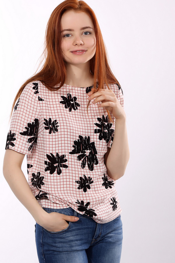 Блузa EssentielБлузы<br>Оригинальная женская блуза Essentiel белого, чёрного и оранжевого цветов. Это изделие было выполнено из полиэстера. Модель предназначена для летнего сезона. Дополнена маленькими черными цветами на клетчатом фоне и черной застежкой на молнии на спине. Блуза свободного кроя. У этого изделия короткие рукава.