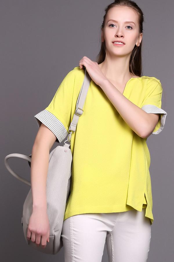 Блузa EssentielБлузы<br>Яркая женская блуза Essentiel желтого, черного и белого цветов. Эта модель была сделана эластана и полиэстера. Это изделие предназначено для летнего сезона. Рукава у изделия укорочены и дополнены черно-белой тканевой вставкой. Блуза свободного кроя. Отлично сочетается с облегающими юбками и брюками.<br><br>Размер RU: 44<br>Пол: Женский<br>Возраст: Взрослый<br>Материал: эластан 5%, полиэстер 95%<br>Цвет: Разноцветный