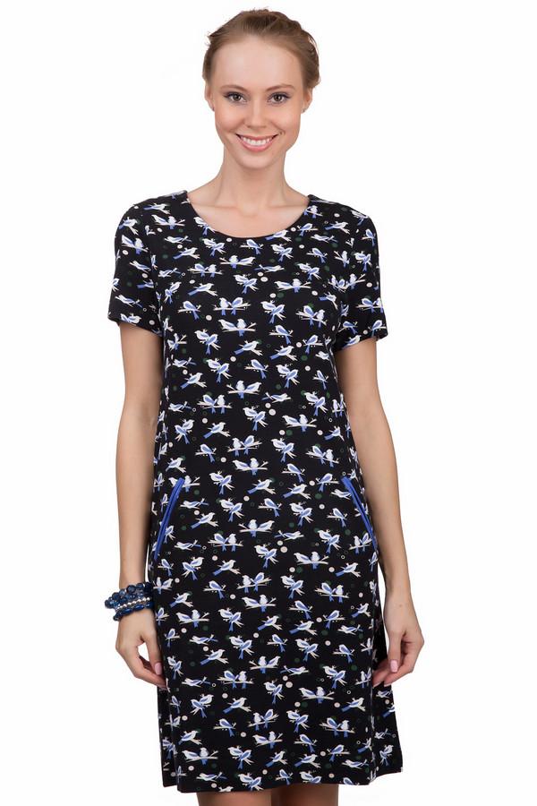 Платье PezzoПлатья<br>Модное женское платье Pezzo черного цвета с белыми, бежевыми, зелёными и синими деталями. Это изделие было выполнено из вискозы, нейлона и спандекса. Данная модель предназначена для теплой летней погоды. Платье средней длинны и с короткими рукавами. Дополнено цветочным мелким рисунком и карманами по бокам.<br><br>Размер RU: 42<br>Пол: Женский<br>Возраст: Взрослый<br>Материал: вискоза 68%, нейлон 26%, спандекс 6%<br>Цвет: Разноцветный