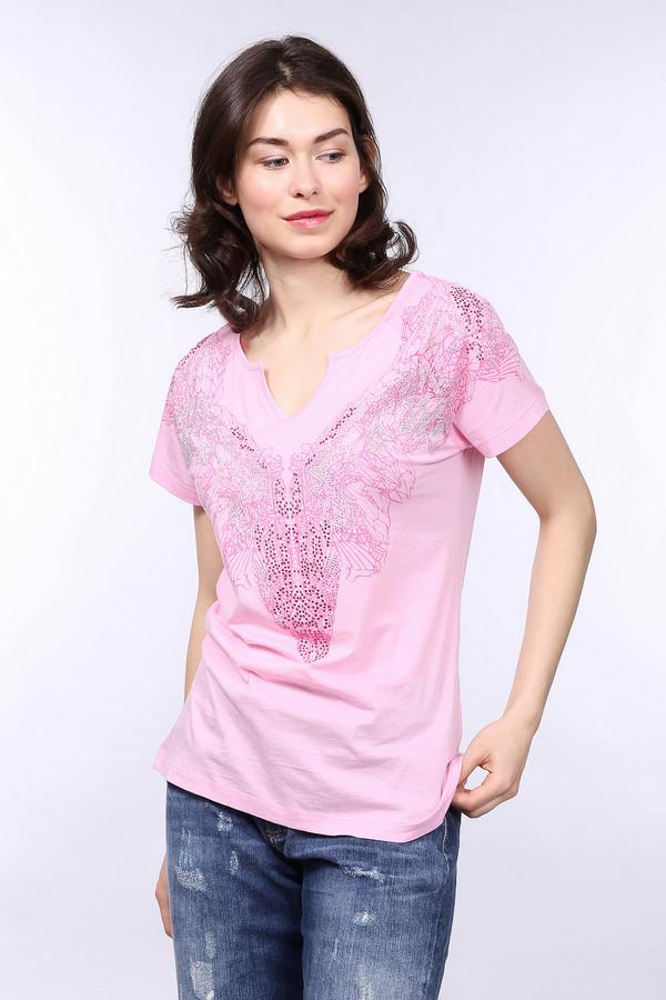 Футболка Betty BarclayФутболки<br>Яркая женская футболка от бренда от бренда Betty Barclay розового цвета с серебристыми деталями. Это изделие было изготовлено из натурального хлопка. Данная модель предназначена для летнего сезона. Футболка дополнена интересным рисунком и серебристыми камнями на вороте. Придаст простому образу яркости и оригинальности.<br><br>Размер RU: 46<br>Пол: Женский<br>Возраст: Взрослый<br>Материал: хлопок 100%<br>Цвет: Серебристый